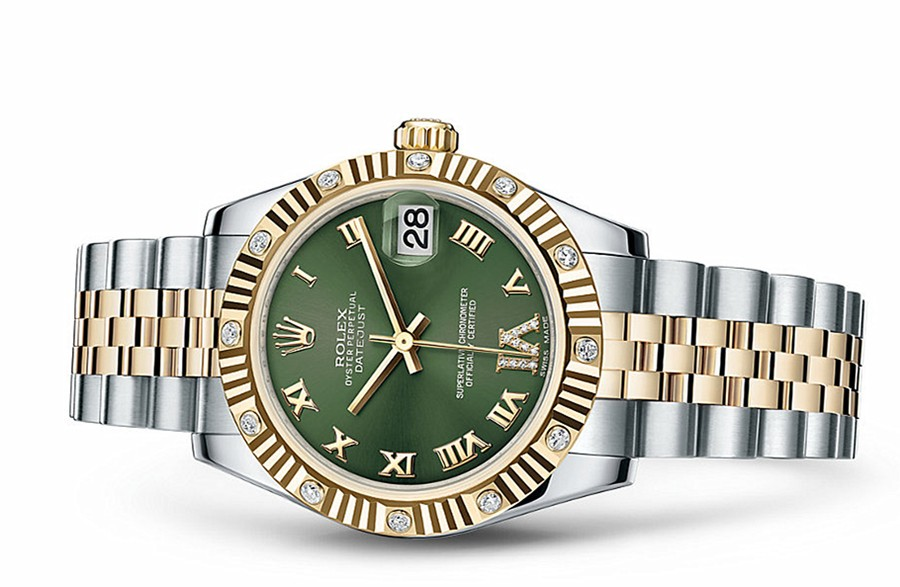 Rolex Datejust Ladies 178313-0075 Swiss Automatic Green Dial 31MM
