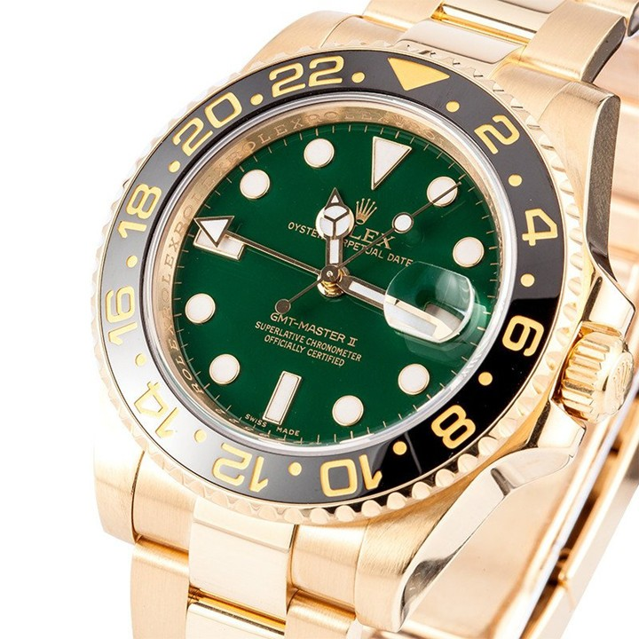 Rolex GMT-Master II Swiss Automatic Yellow Gold Green Dial