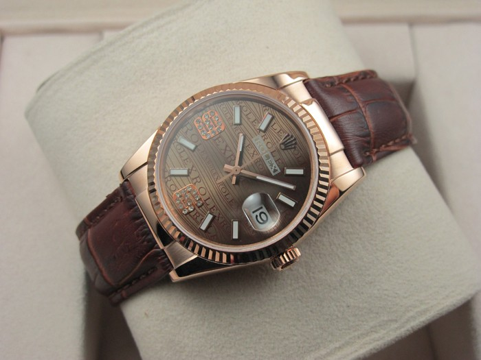 Rolex Datejust 36mm Swiss Automatic Watch 18K Gold-Brown Dial Diamond Stick Markers-Brown Leather Bracelet