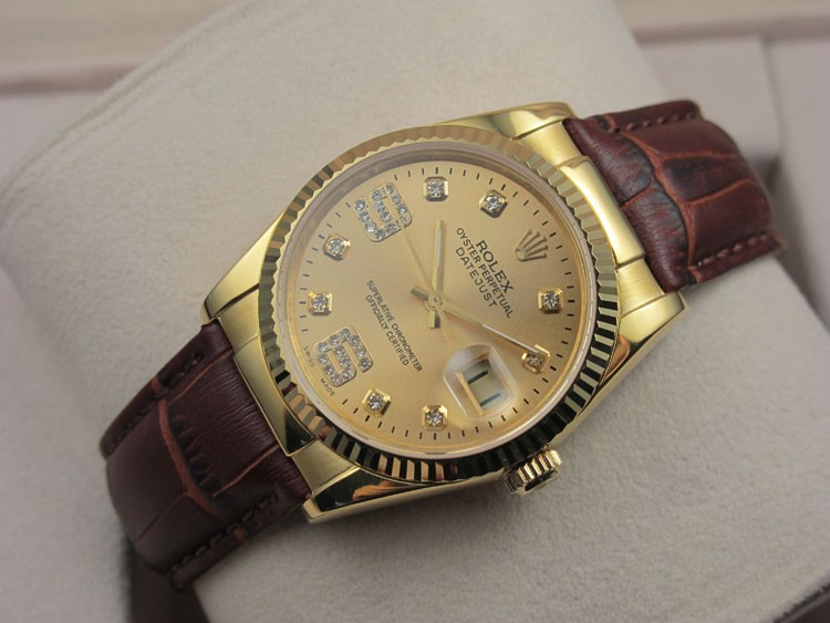 Rolex Datejust 36mm Swiss Automatic Watch 18K Gold-Golden Dial Diamond Markers-Dark Brown Leather Bracelet