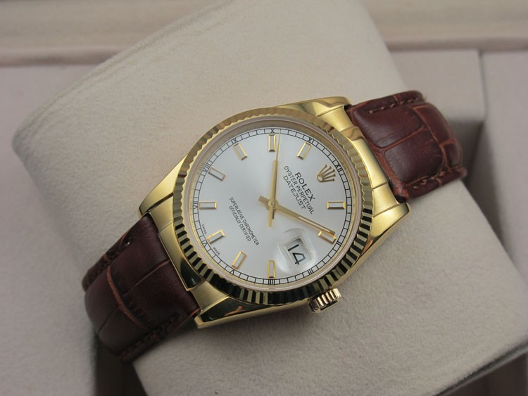 Rolex Datejust 36mm Swiss Automatic Watch 18K Gold-White Dial Stick Markers-Brown Leather Bracelet
