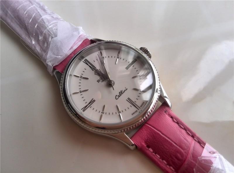 Rolex Cellini Swiss eta 2824 Automatic Women Watch-White Dial Pink Leather Bracelet