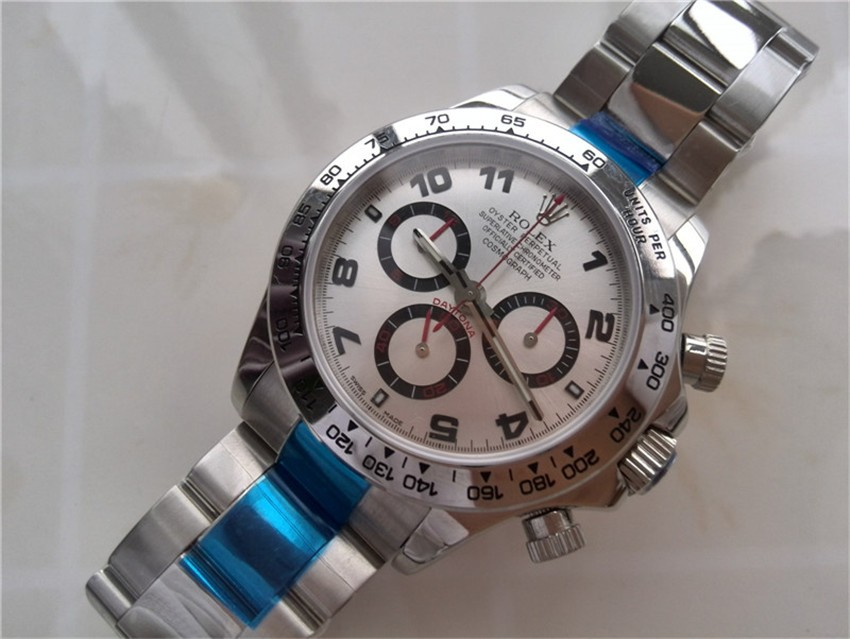 Rolex Daytona Swiss Chronograph-Siver-Gray Dial-Red Chronograph-Stainless Steel Oyster Bracelet