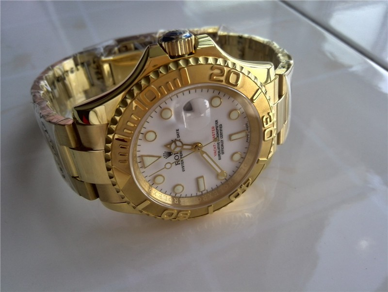Rolex Yachtmaster II Gold Swiss ETA-White Dial White Dot Markers-Gold Plated Stainless Steel Oyster Bracelet