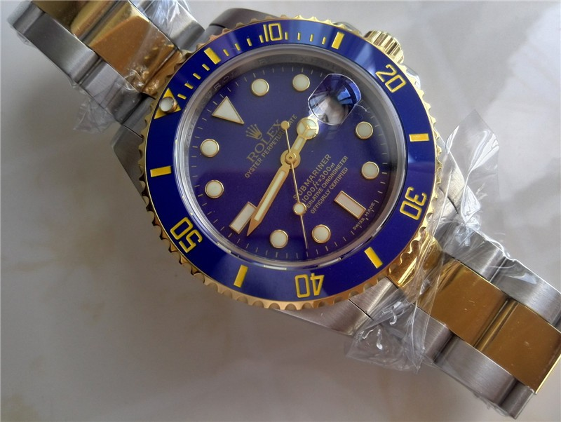 Rolex Submariner Automatic Swiss Watch 18k Gold-Blue Dial with Gold Markers-Stainless Steel New Style Brushed Oyster Bracelet