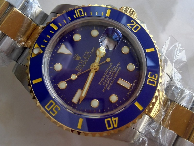 Rolex Submariner Automatic Watch Blue Dial Bi Tone Bracelet