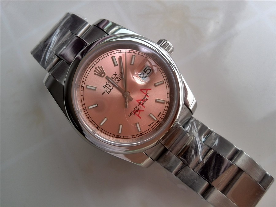 Rolex Day-Date E741 Automatic-Rose Gold Dial Gormment Markers-Stainless Steel Strap