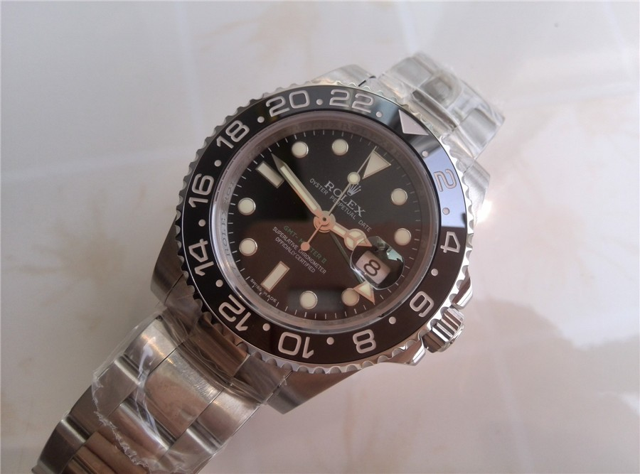 Rolex GMT II 50th Anniversary Ceramic Automatic Watch-Black Dial-Stainless Steel Oyster Bracelet