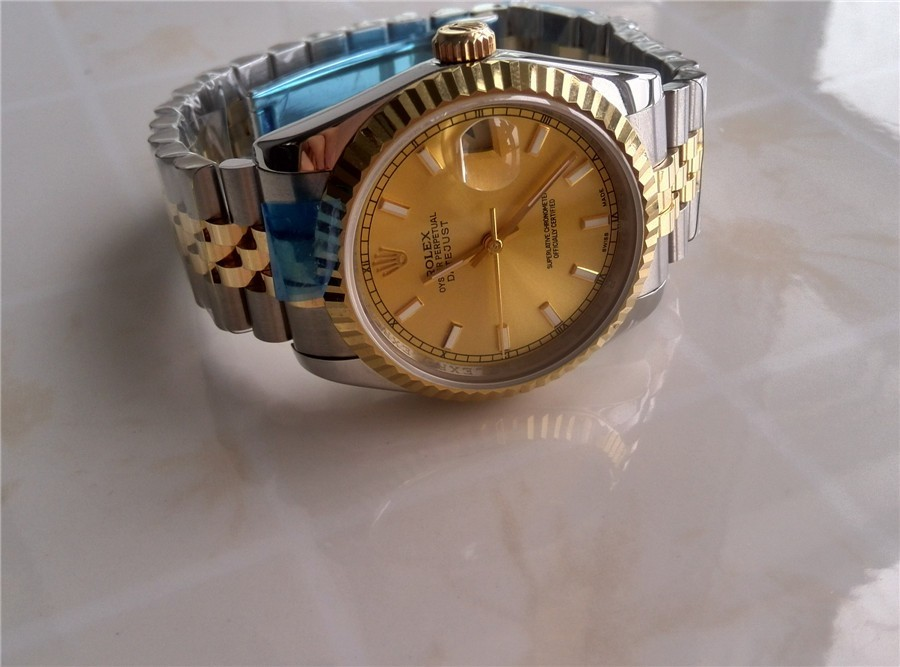 Rolex Datejust Automatic Watch Gold Dial Bi Tone Bracelet