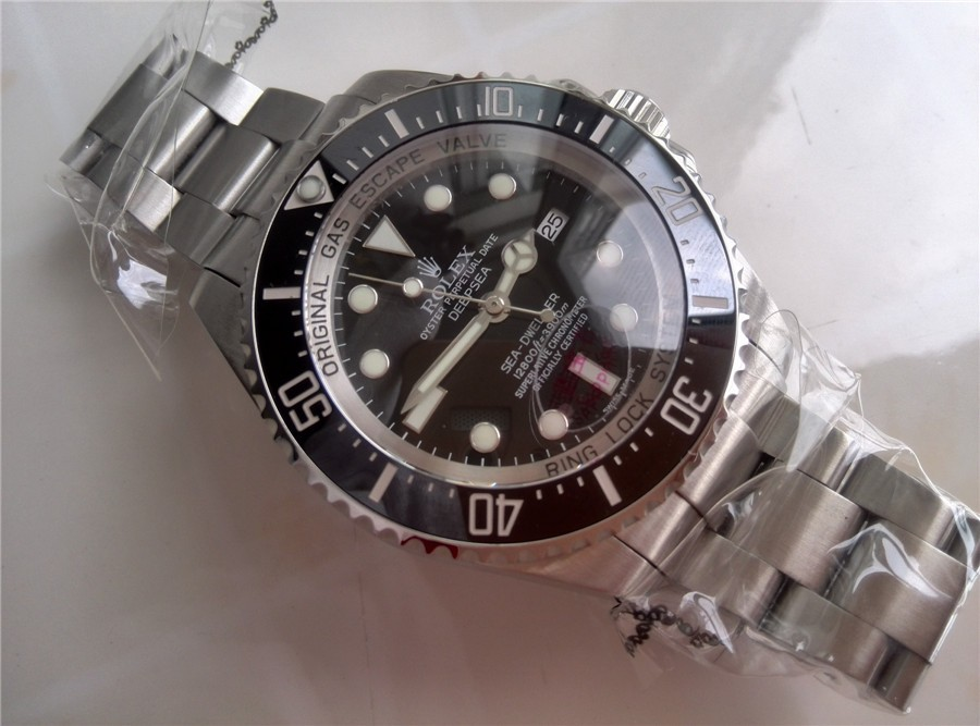 Rolex Sea Dweller Ultimate DeepSea Automatic Watch-Black Dial White Dot Markers-Stainless Steel Oyster Brushed Bracelet