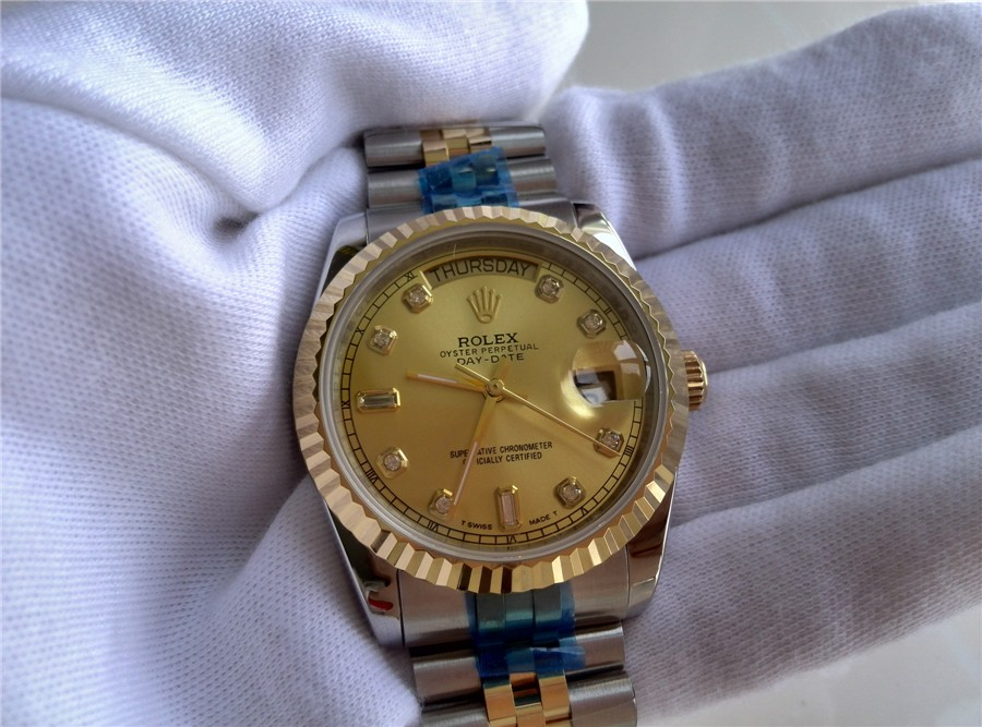 Rolex Day Date Automatic Swiss Watch 18K Gold-Gold Dial Diamond Hour Markers-tainless Steel Jubilee Bracelet