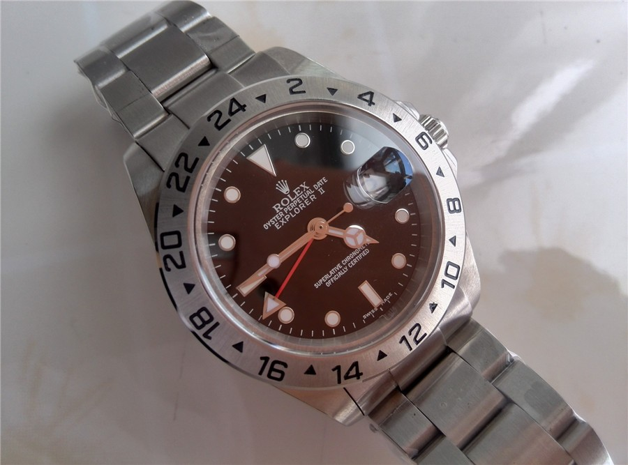 Rolex Explorer II GMT Hour Adjust-Black Dial White Dot markers-Stainless Steel Oyster Strap