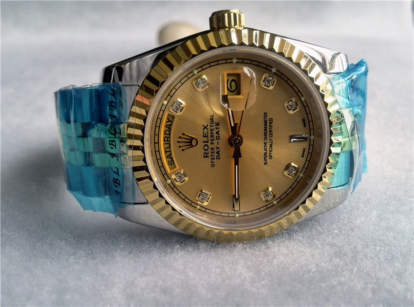 Rolex Day-Date Automatic Watch Gold Dial Bi Tone Bracelet