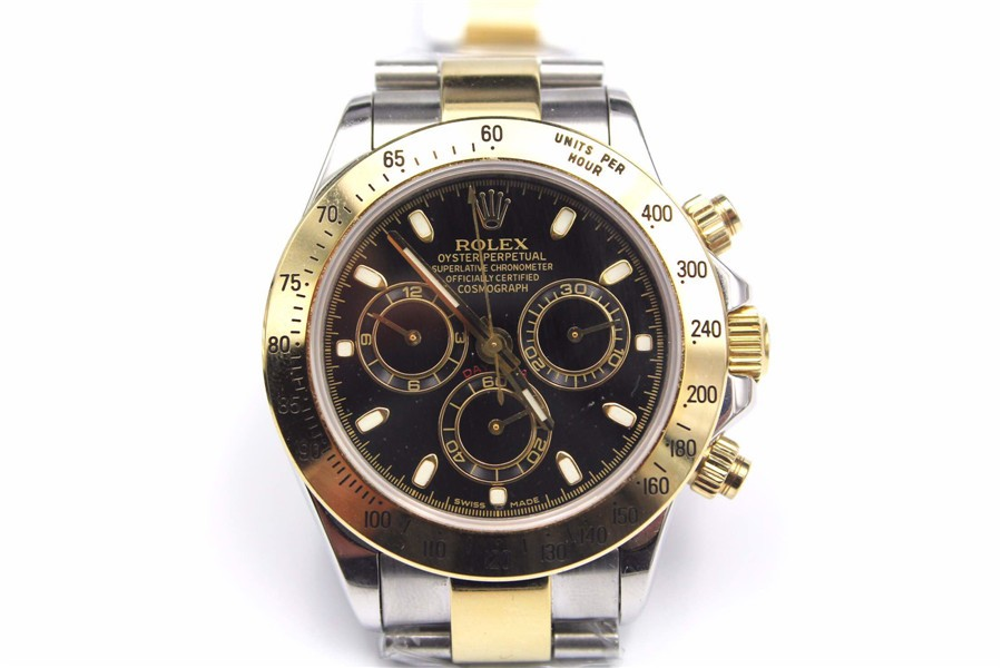 Rolex Daytona Swiss Automatic Watch-Gold Ring, Black Dial-Gold Midlink Bracelet