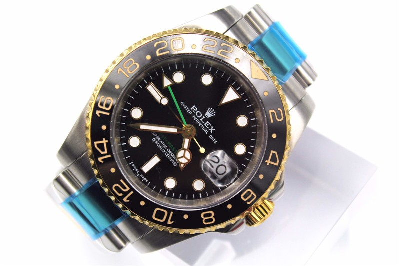 Rolex GMT II 50th Anniversary Ceramic Automatic 18K Gold-Black Dial-Gold Plated Stainless Steel Oyster Bracelet