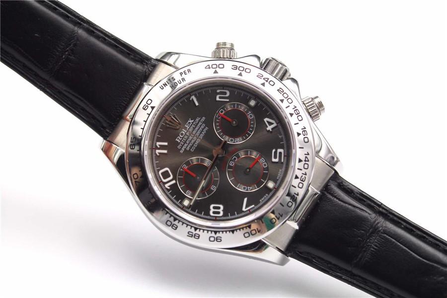 Rolex Daytona Swiss Automatic Watch-Red Ring, Carbonarius Dial-Black Leather Bracelet
