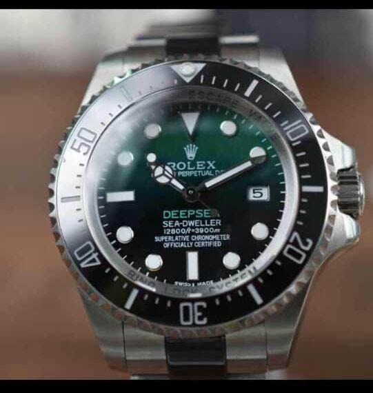 Rolex Sea Dweller DeepSea Automatic Watch-Black&Green Dial White Dot Markers-Ceramic Midlinks Bracelet 44mm