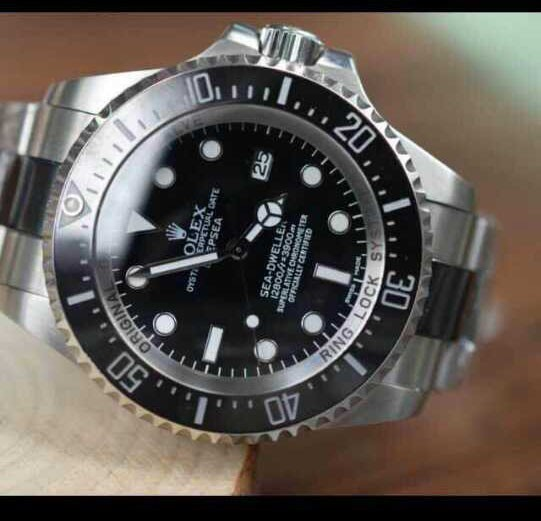 Rolex Sea Dweller DeepSea Automatic Watch-Black Dial White Dot Markers-Ceramic Midlinks Bracelet