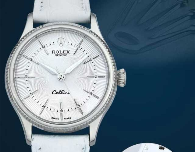 Rolex Cellini Swiss eta 2824 Automatic Women Watch-White Dial White Leather Bracelet