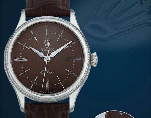 Rolex Cellini Swiss eta 2824 Automatic Women Watch-Brown Dial Brown Leather Bracelet