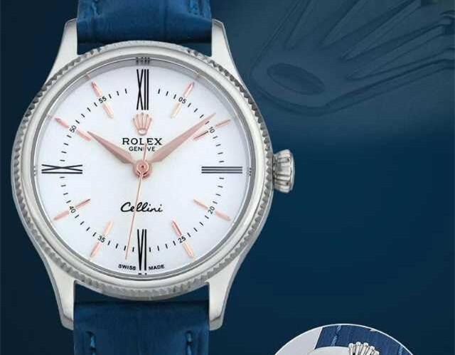 Rolex Cellini Swiss eta 2824 Automatic Women Watch-White Dial Ocean Blue Leather Bracelet
