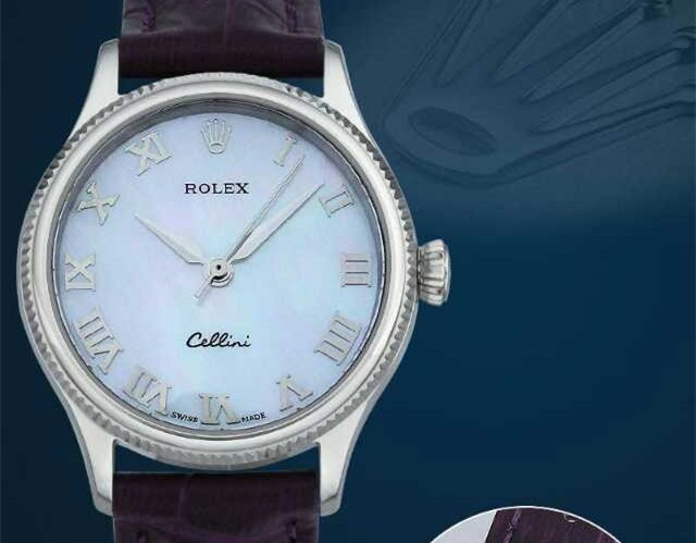 Rolex Cellini Swiss eta 2824 Automatic Women Watch-Ice Blue Dial Brown Leather Bracelet