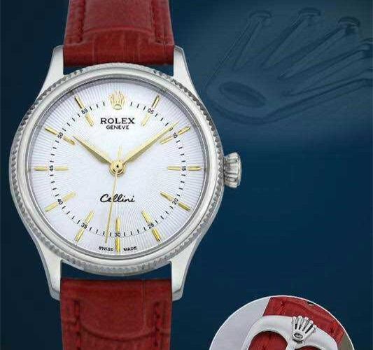 Rolex Cellini Swiss eta 2824 Automatic Women Watch-White Dial with Gold hour markers-Red Leather Bracelet