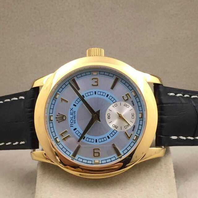 Rolex Cellini Swiss Automatic Watch Yellow Gold-Independent Seconds-Ice Blue Dial