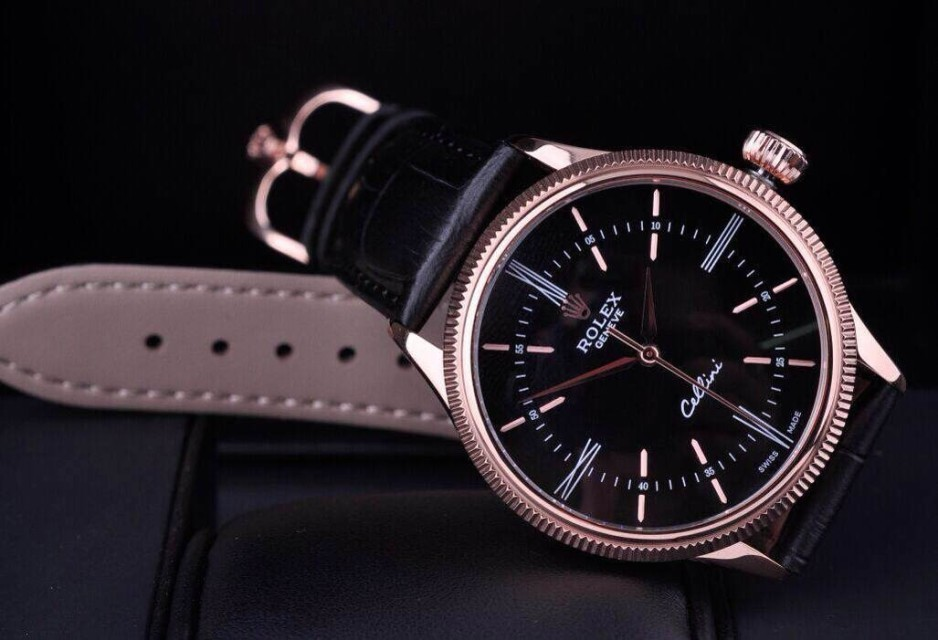 Rolex Cellini Time 50505 Swiss Automatic Watch-Black dial 18K Rose Gold Pointer Hour markers -Black leather strap