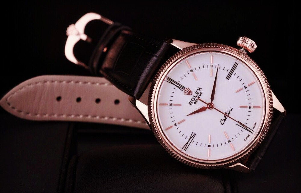 Rolex Cellini Time 50505 Swiss Automatic Watch White Dial 18K Rose Gold Pointer Hour markers Dark Brown leather strap