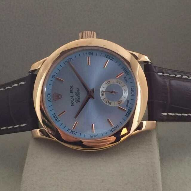 Rolex Cellini Swiss Automatic Watch Rose Gold-Small Seconds-Ice Blue Dial