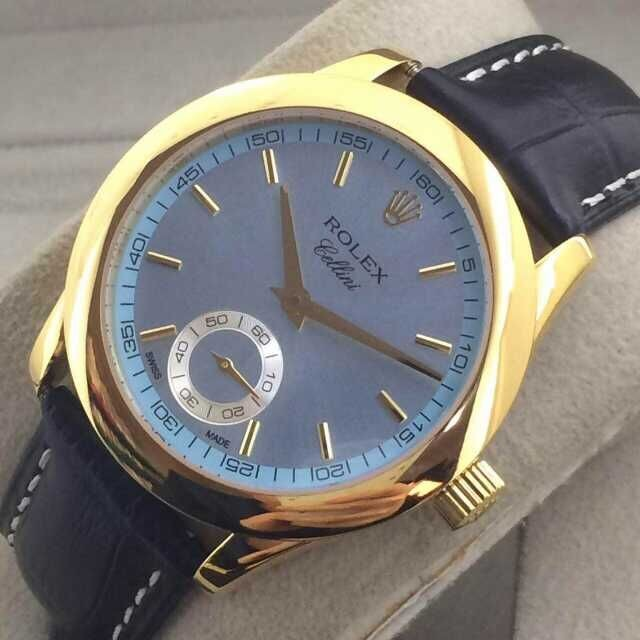 Rolex Cellini Swiss Automatic Watch Yellow Gold-Small Seconds-Ice Blue Dial