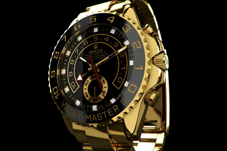 Rolex Yacht-Master II Swiss Automatic Watch Full Yellow Gold-Black Dial