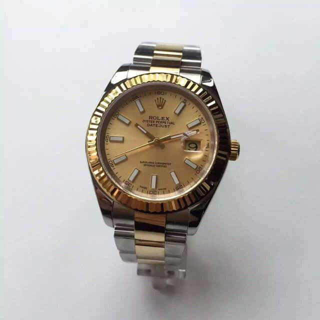 Rolex Datejust Gold Dial Stick Markers Swiss Automatic Watch