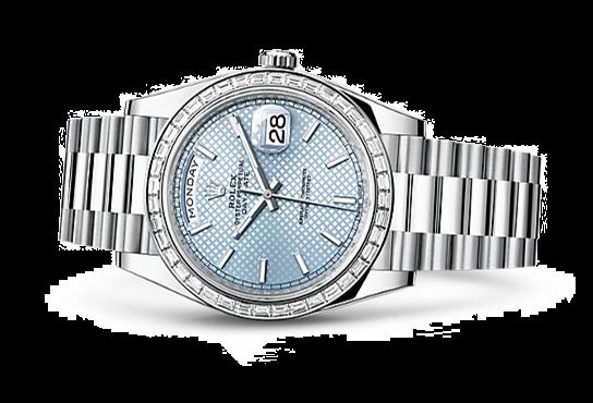 Rolex Day-Date Swiss Automatic Watch 40mm Ice Blue Dial Diamonds Bezel