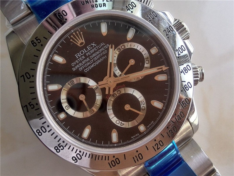 Rolex Daytona Swiss Chronograph-Black Dial Silver Ring Subdials-Stainless Steel Oyster Bracelet