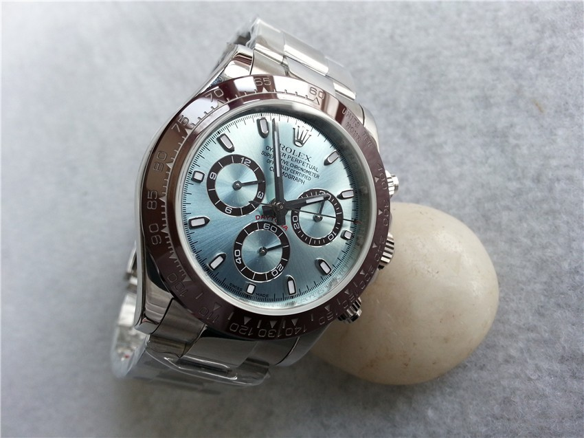 Rolex Daytona Swiss Chronograph-Ice Blue Dial Chocolate Ring Subdials-Droplet Hour-Stainless Steel Oyster Bracelet