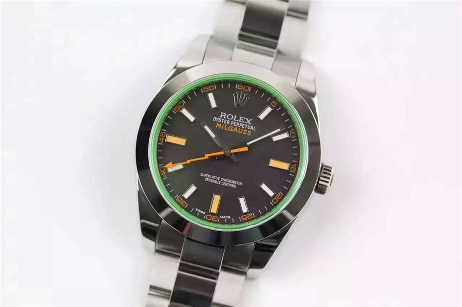 Rolex Milgauss Swiss ETA3131 Automatic Watch Black Dial
