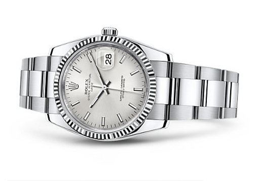 Rolex Oyster Perpetual Date Swiss Automatic Watch 34mm Rhodium Dial