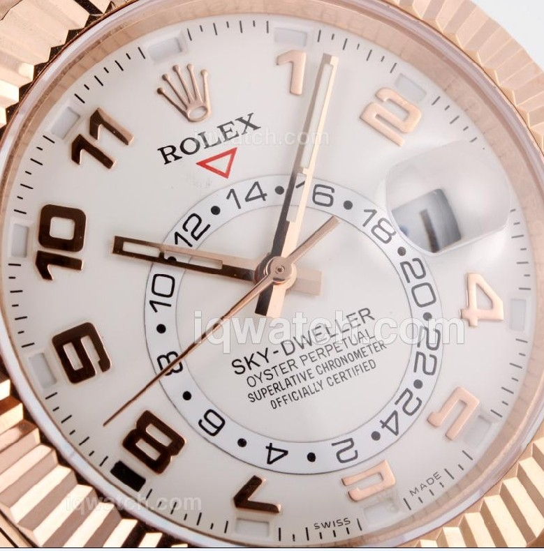 Rolex Sky-Dweller Automatic Watch Rose Gold White Dial