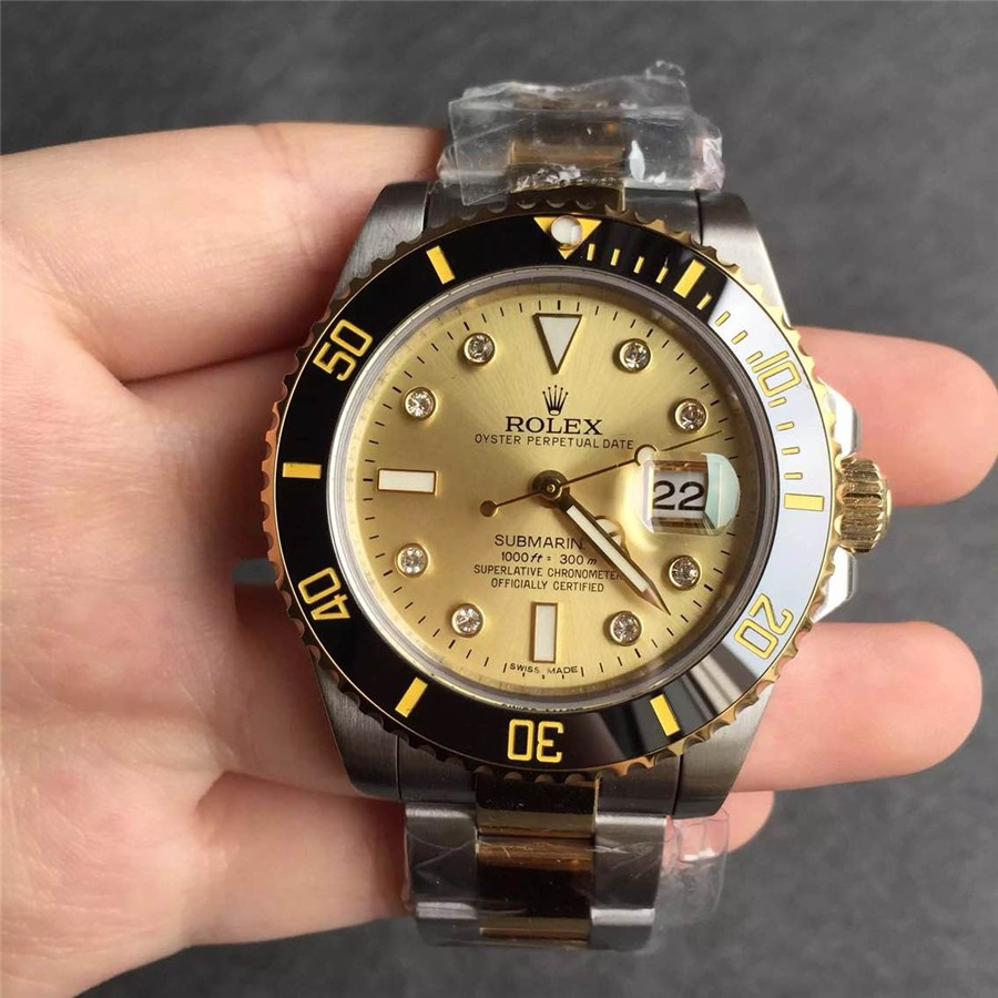 Rolex Submariner Gold Dial Diamonds Hour Markers Swiss Automatic Watch