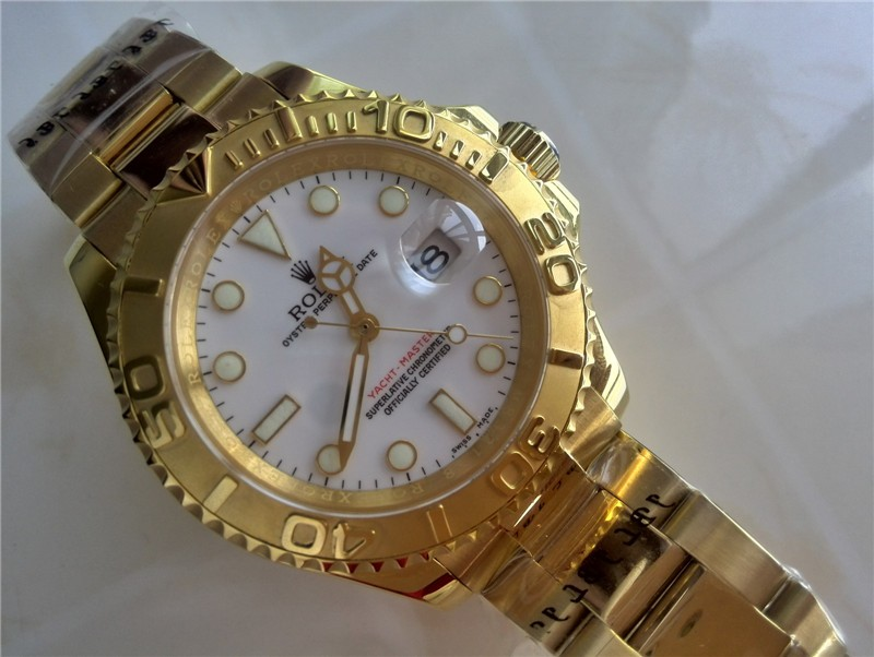 Rolex Yachtmaster II Swiss ETA-White Dial-Gold Plated Stainless Steel Oyster Bracelet