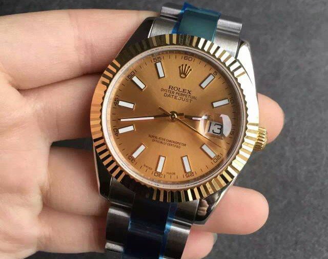 Rolex Datejust Gold Dial Stick Markers Swiss Automatic Watch 41MM