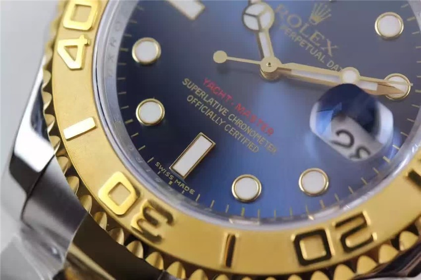 Rolex Yachtmaster II Swiss ETA-Blue Dial White-Gold Plated Stainless Steel Oyster Strap