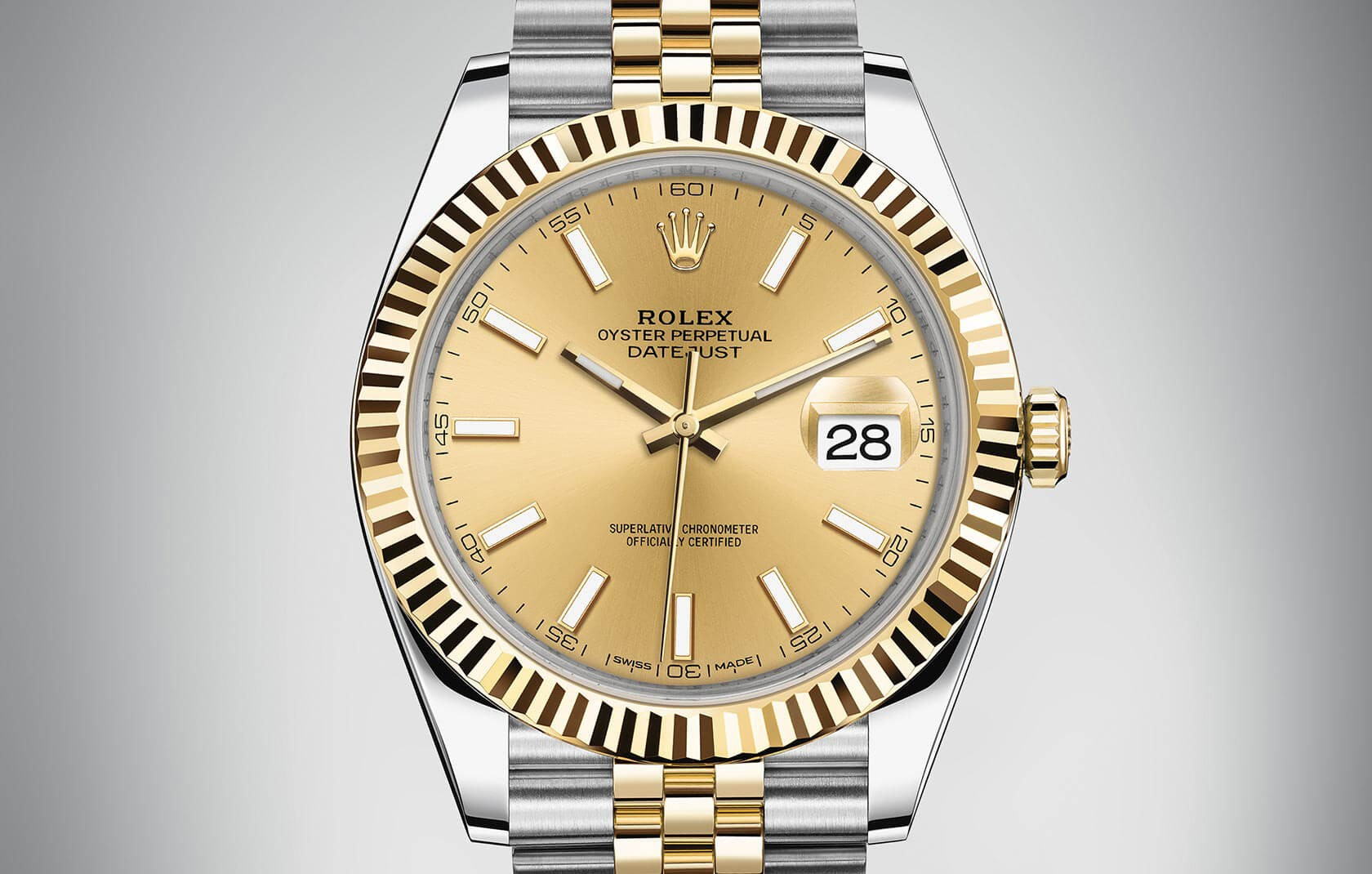 Rolex DateJust Swiss Automatic Watch Golden Dial